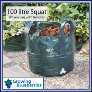 100 litre Squat Blueberry Growing Woven Bag - Blueberry Growing Supplies - For more information go to GrowingBlueberries.com.au